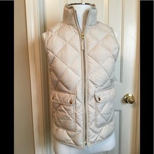 J. CREW  NWT; down-filled, cream and gold vest